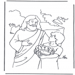 Kolorowanki Biblijne - 5 chlebów i  2 ryby 4