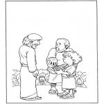 Kolorowanki Biblijne - 5 Talerzy i 2 Ryby 1