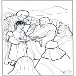 Kolorowanki Biblijne - 5 Talerzy i 2  Ryby 3