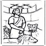 Kolorowanki Biblijne - Daniel w jaskini lwa 1