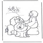 Kolorowanki Biblijne - Daniel w jaskini lwa 2