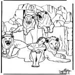 Kolorowanki Biblijne - Daniel w jaskini lwa 3