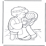 Kolorowanki Biblijne - David na lirze