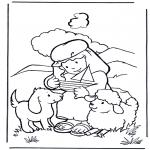 Kolorowanki Biblijne - Dawid jako pasterz