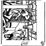 Kolorowanki Biblijne - Diorama Dawid i Saul 1