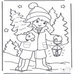 Zima - Dziewczynka i Drzewo