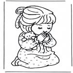 Kolorowanki Biblijne - Dziewczynka  się modli