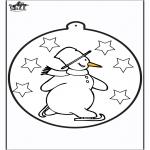 Zima -  Haftowanie kartki - Bałwan 1