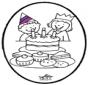 Haftowanie kartki - Urodziny