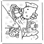 Bohaterowie Z Bajek - Hello Kitty w śniegu