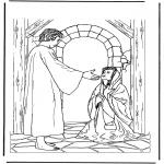 Kolorowanki Biblijne - Jezus i chora kobieta