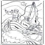 Kolorowanki Biblijne - Jezus na jeziorze