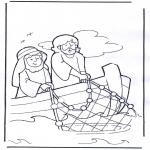 Kolorowanki Biblijne - Jezus na łodzi