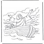 Kolorowanki Biblijne - Jezus na wodzie 1