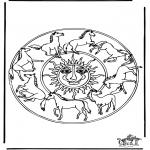 Mandala's - Kolorowanki mandala kon 1