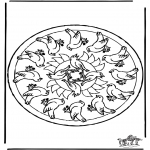 Mandala's - Kolorowanki mandala ptaki