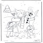 Zima - kolorowanki niedzwiedz w sniegu