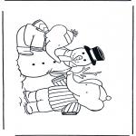 Zima - Kolorowanki śniegowy bałwan 1