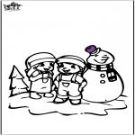 Zima - Kolorowanki śniegowy bałwan 2