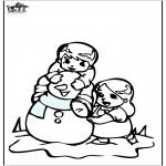 Zima - Kolorowanki śniegowy bałwan 3