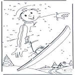 Zima - Kolorowanki Snowboarden