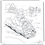 Zima - Kolorowanki tata na sankach