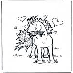 Zwierzęta - Koń z kwiatkami
