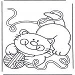 Zwierzęta - Kotek z wełną