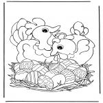 Tematy - Kury z jajkami wielkanocnymi