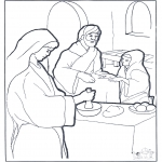 Kolorowanki Biblijne - Maria, Marta i Jezus