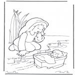 Kolorowanki Biblijne - Mojżes z matką