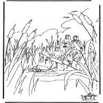 Kolorowanki Biblijne - Mojżesz w Koszyczku