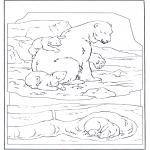 Zwierzęta - Niedźwiedź polarny z niedźwiadkiem