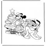 Boze Narodzenie - Pluto i Mickey z choinką