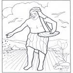 Kolorowanki Biblijne - Siewca idzie siać