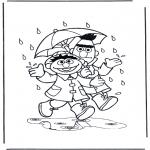 Przedszkolaki - w deszczu