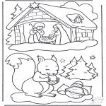 Zima - Wiewiórka w Śniegu